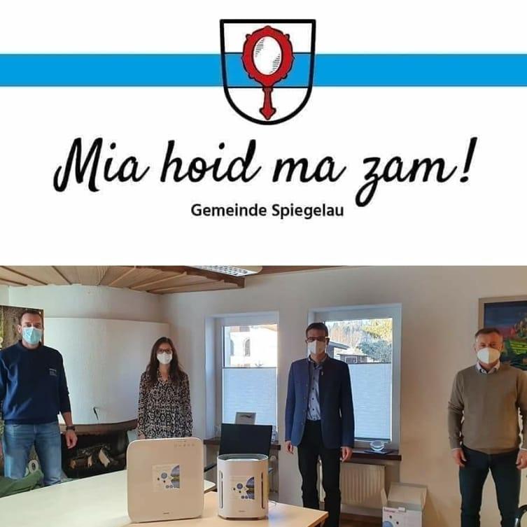 Weihnachtsaktion 2020 - Übergabe der Luftreinigungsgeräte für Kindergärten der Gemeinde Spiegelau im Rathaus